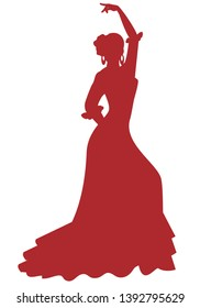 Silhouette of Spanish Flamenco dancer woman dancing isolated on white background