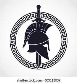 silhouette spartan theme logo with helmet sword and shield