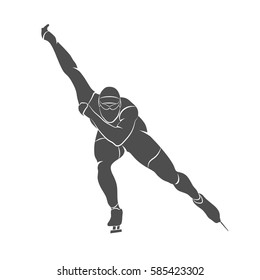 Silhouette speed skaters on a white background. Vector illustration.