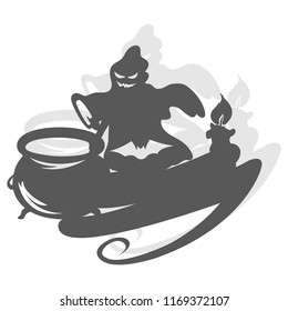 Silhouette of a spooky ghost over a pot with candle and copy space