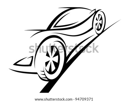 Silhouette Sport Car Racing Sports Design Stock Vector Royalty Free