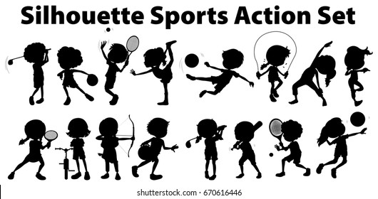 Silhouette sports action set on white background illustration