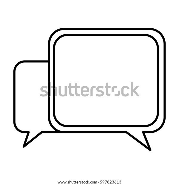 silhouette square chat bubbles icon, vector illustraction design
