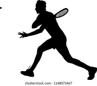 Silhouette of a squash player who is hitting a ball, vector illustration