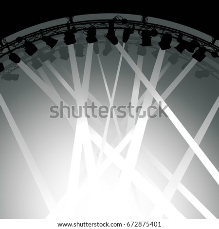 Beams Lighting Inside Silhouette Of Stage Lighting Rig With Beams Light Shining Down On Stage Stage Lighting Rig Beams Light Stock Vector royalty Free