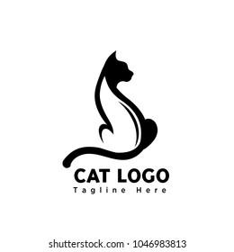 silhouette stand elegant art cat logo