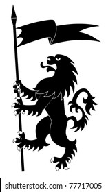 Silhouette of standing heraldic lion with flag