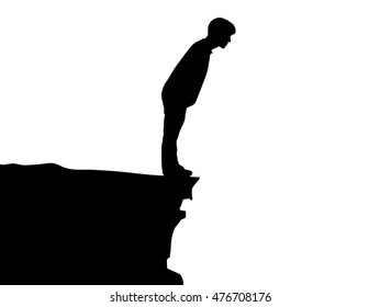 Silhouette of standing young man on cliff, vector