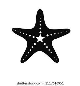 Silhouette of a starfish in a flat style. Marine icon in cartoon style isolated on white background. Summer vector illustration.