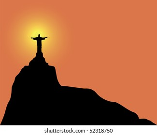 Silhouette of a statue to Jesus Christ in Rio de Janeiro Brazil on an orange background
