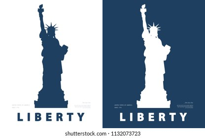 Silhouette, Statue of Liberty. USA, poster. Blue and white line drawing. Symbol of America. Illustration, white, blue background. Use presentations,corporate reports, text, emblems,labels, logo,vector