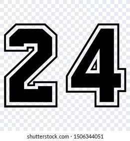 Silhouette stencil numbers for cutting or print. sport jersey number 24 vector black symbol template isolated
