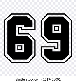 Silhouette stencil numbers for cutting or print. sport number 69 vector isolated design illustration for template