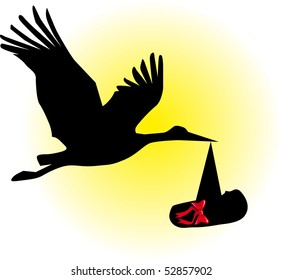 Silhouette of a stork with the child