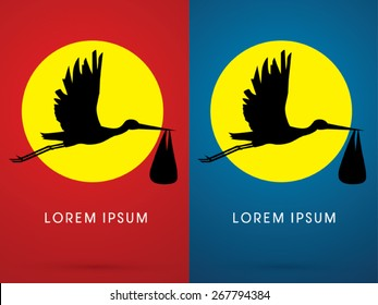 Silhouette Stork delivering a newborn baby with moon ,sign ,logo, symbol, icon, graphic, vector.