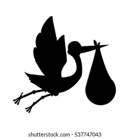 silhouette of stork flying holding a bag with a baby icon over white background. vector illustration