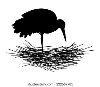 the silhouette of a stork nest on white background vector