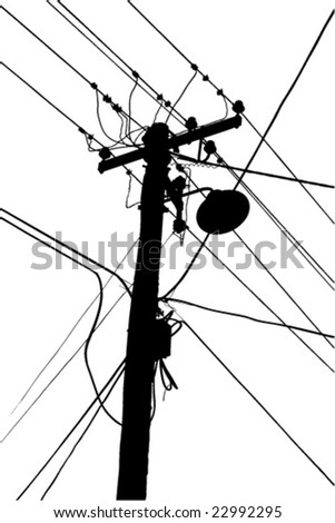 Silhouette Street Light Power Cable Stock Vector Royalty Free