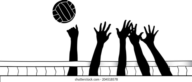 Silhouette of a striker going around a block at the volleyball net.