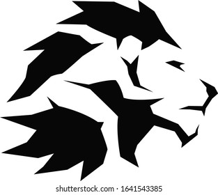 Silhouette of a strong men running in the lion mane simple design vector