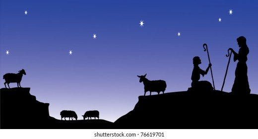 Silhouette style vector image of shepherds watching their flocks by night.