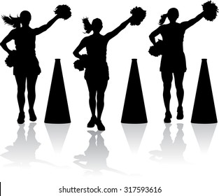 silhouette styled vector illustration of three cheerleaders with megaphones.
