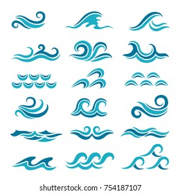 Silhouette of stylized vector blue waves isolate on white. Wave ocean and water curve splash and ripple illustration