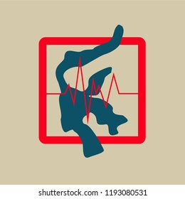 Silhouette of Sulawesi island in red box with vibration symbol reflecting earthquake, isolated on light background. Earthquake and tsunami in Sulawesi island Indonesia