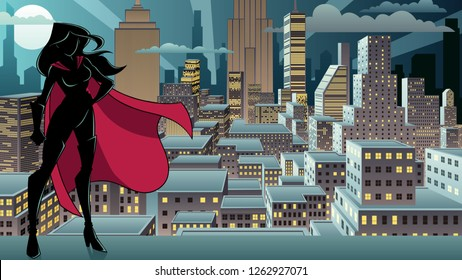 Silhouette superheroine standing tall against city background.