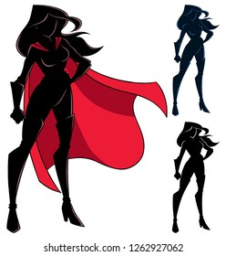 Silhouette of superheroine standing tall on white background and in 3 versions.