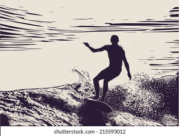 Silhouette surfer and big wave. engraving style. vector illustration.