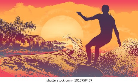 Silhouette Surfer, Big Wave  And Tropical Coast With Palm Trees,Rocks And Sun. aspect ratio 16:9. Vector Illustration
