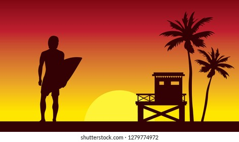 Silhouette of surfer, lifeguard station and palm tree on a red sunset sky. Summer nature vector illustration. Sport water card - surfing.