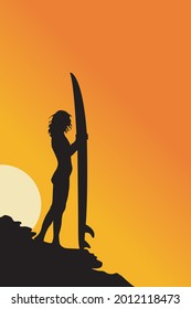 silhouette of a surfer on a reef holding a surfboard in the afternoon with a sunset background,