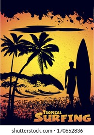 silhouette of a surfer on a tropical beach in grunge style