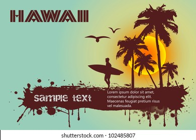 Silhouette of the surfer, tropical beach