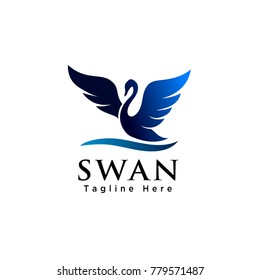 silhouette swan flapping wings logo