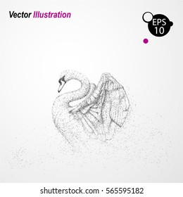 Silhouette of a Swan. Particles. Vector illustration.