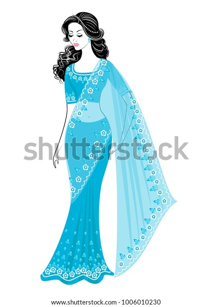ac12b45e53 Silhouette is a sweet lady. The girl is dressed in a sari, traditional  Indian