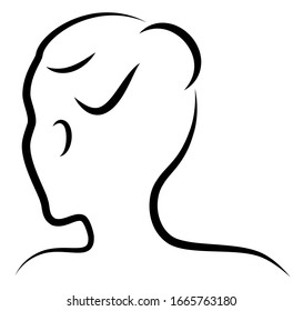 Silhouette of a sweet lady. The girl shows her hair on medium and long hair. Suitable for logo, advertising. Vector illustration.