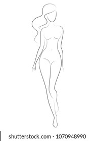 Silhouette of a sweet lady, she's standing. The girl has a beautiful nude figure. The woman is young and slim. Vector illustration.