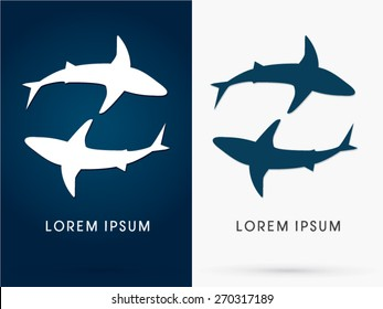 Silhouette, Swimming Shark, sign ,logo, symbol, icon, graphic, vector.