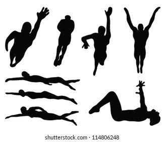 Silhouette of swimming styles-vector