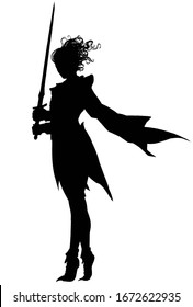 The silhouette of a swordswoman girl standing in a strong wind, which flutters her hair and cloak, in her hands she holds a blade, standing in a graceful pose. 2d illustration