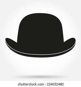 Silhouette symbol of bowler hat with silk ribbon. Simple Vector Illustration Isolated on a white background