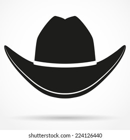 Silhouette symbol of cowboy hat traditional symbol. Simple Vector Illustration Isolated on white background.