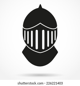Silhouette symbol of Crusader Metallic Knight's Helmet. Retro style Historical reenactment. Vector Background isolated on white background