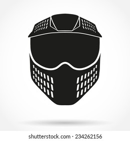 Silhouette symbol of paintball mask with goggles. Original design. Vector Illustration isolated on white background.