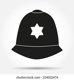 Silhouette symbol of traditional authentic helmet of metropolitan British police officers. Simple Vector illustration.