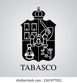 Silhouette of Tabasco Coat of Arms. Mexican State. Vector illustration